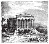 Old engraving of the Temple of Concord Templum Concordiae in Agrigente Rome Italy Vintage engraved illustration of the temple dedicated to the goddess Conc