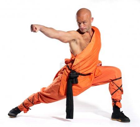 Shaolin warriors monk on white background...