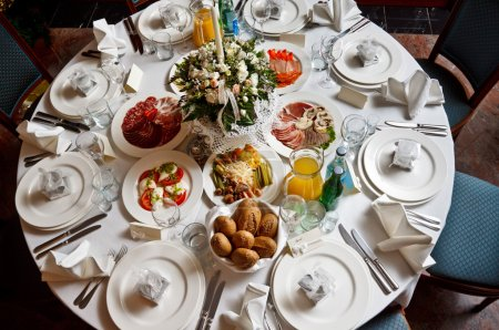 Restraunt table served for a banquet