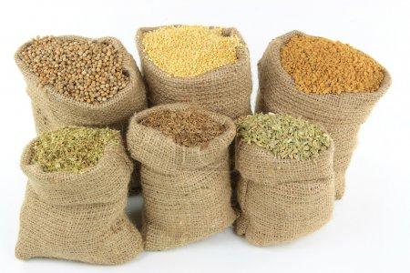 Ingredients, Seasonings, Spices and herbs in burlap sacks.