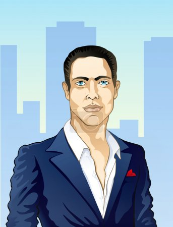 Illustration for Man in a suit with an unbuttoned shirt in the city - Royalty Free Image