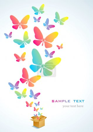 Illustration for Open cardboard box with colorful butterflies flying - Royalty Free Image