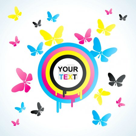 Colored CMYK circles and butterfly