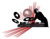 Clip-art with dj records turntable and shining disco ball