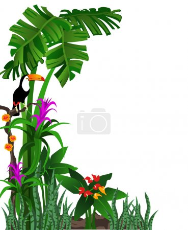 Illustration for Background illustration of a tropical forest with flowers and a toucan - Royalty Free Image