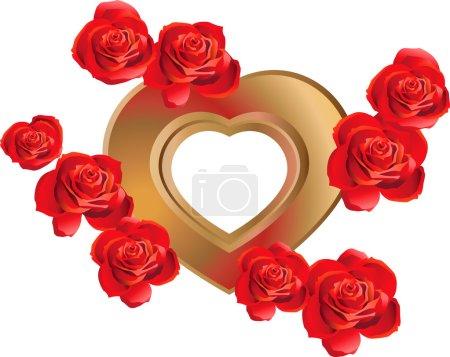 herzförmiger Rahmen mit Rosen
