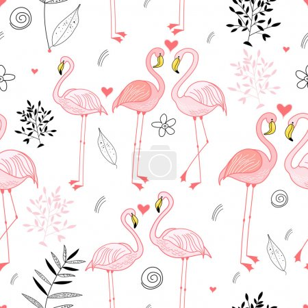 Seamless pattern with a passionate pink flamingos