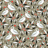 Seamless pattern from the graphics of leaves and white swans on a brown background