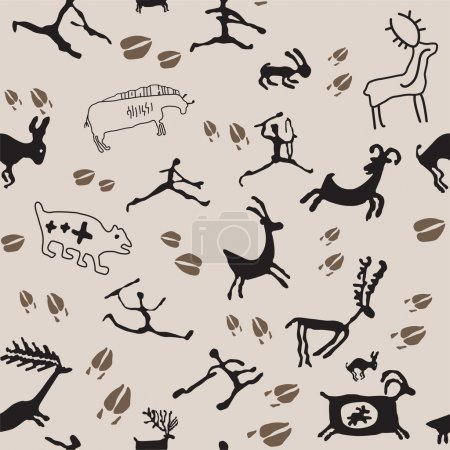 Cave Painting Hunters and Animals.