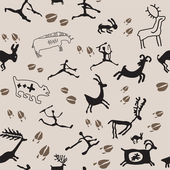Cave Painting Hunters and Animals