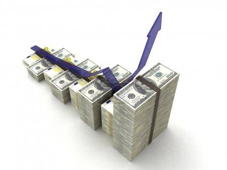 Photo pour Graphique monétaire avec dollars, euro - image libre de droit