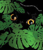Black wild cat lurking behind tropical foliage flower monstera watching potential prey