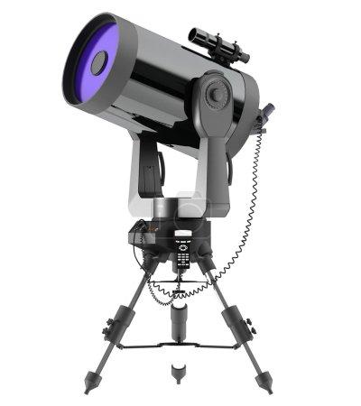 Photo pour Ordinateur d'imagerie télescope à réflexion, isolé sur fond blanc - image libre de droit