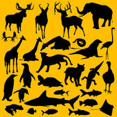 A collection of 28 different silhouettes of wild animals