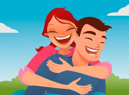 Happy couple playing piggyback