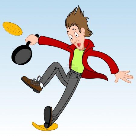 Pancake day race runner falls