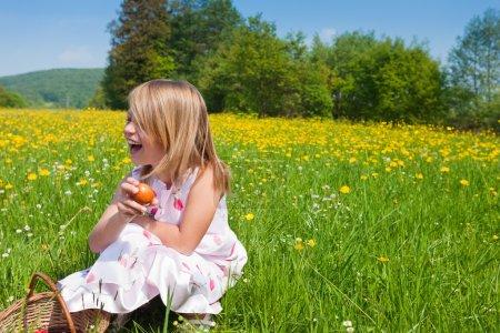 Little girl on a beautiful sunlit