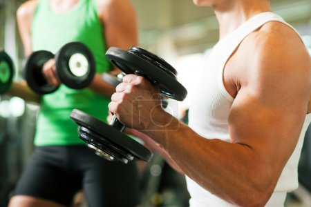 Photo for Dumbbells in a gym, in the background a woman also lifting weights - Royalty Free Image
