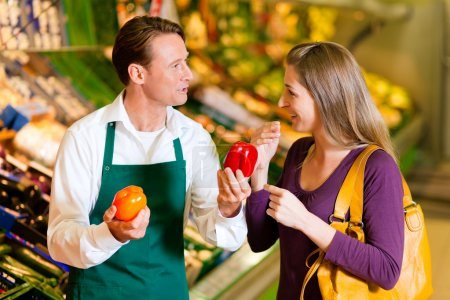 Woman in a supermarket at the