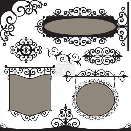 Vector set: wrought iron vintage signs and element...