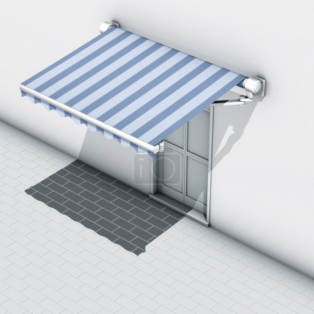 Awnings blue stripes
