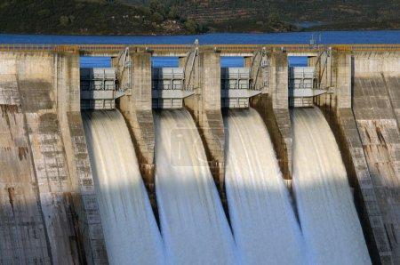 Gates open of dam