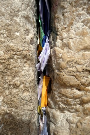 Slips of paper containing prayers in the Wailing Wall