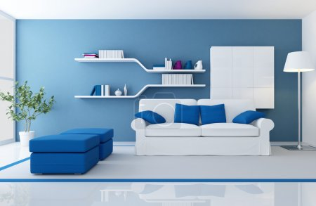 Photo for White couch in a blue modern living room - rendering - Royalty Free Image
