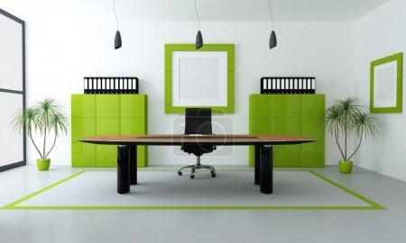 Photo pour Espace de bureau minimaliste de vert et noir - rendu - image libre de droit