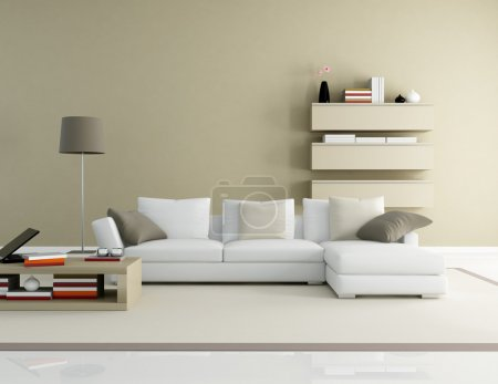Photo for Brown and beige modern living room - rendering - Royalty Free Image