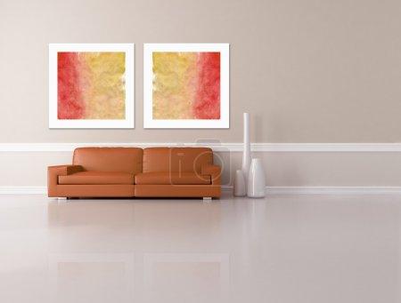 Photo pour Vase de photo et de la mode canapé orange foncé deux dans un salon minimaliste - rendu - l'art photo sur le mur sont de ma composition - image libre de droit
