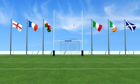 Photo pour Terrain de rugby avec les drapeaux des équipes dans le tournoi des six nations - image libre de droit