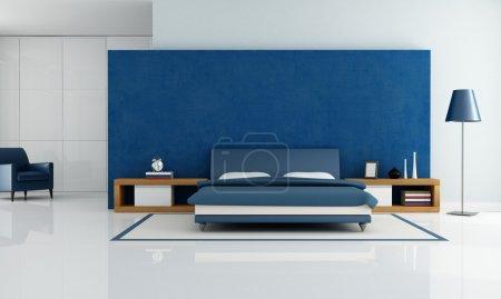Photo pour Chambre à coucher contemporaine bleue avec armoire blanche et fauteuil - rendu - image libre de droit