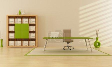 Photo pour Bureau vert minimaliste moderne - rendu - image libre de droit