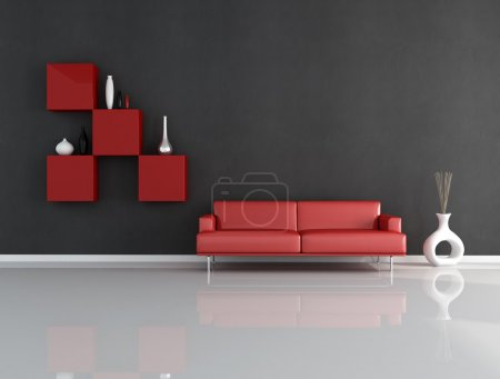 Photo for Minimalist red and blck lounge - rendering - Royalty Free Image