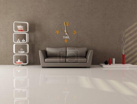 Photo pour Salon marron avec bibliothèque contemporaine, canapé et grande horloge sur mur en stuc - image libre de droit