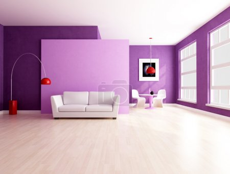 Minimalist purple living room with dining space