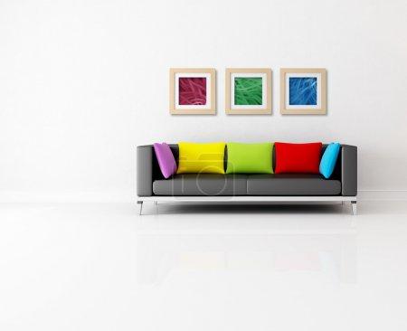 Foto de Minimalista living comedor con sofá color y cuadro abstracto - las imágenes de pared son mi composición - Imagen libre de derechos
