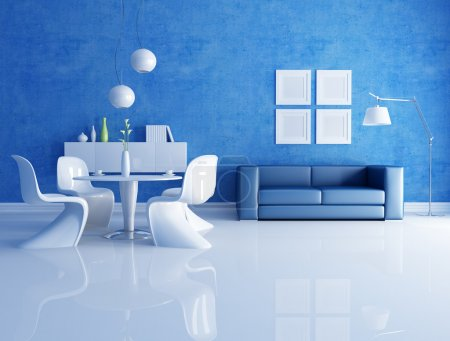 Photo for Modern dining room with blue sofa - rendering - Royalty Free Image