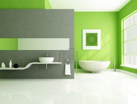 Photo pour Salle de bain contemporaine avec baignoire en grès et lavabo blanc - image libre de droit