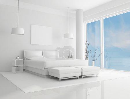 Photo pour Chambre blanche pure avec ciel bleu sur fond - rendu - image libre de droit
