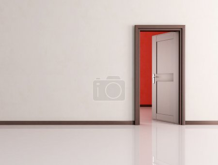 Photo pour Blanc salle vide ouvert en bois porte - rendu - image libre de droit