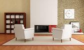 Moderní obývací pokoj s krbem