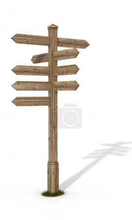 Photo pour Ancien panneau de signalisation en bois isolé sur blanc - rendu - image libre de droit