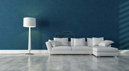 Photo for Elegant modern white couch in a blue interior with concrete floor - rendering - Royalty Free Image