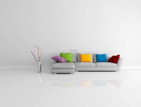 Photo for Gray modern couch with colored pillow in a bright empty living room - rendering - Royalty Free Image