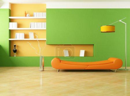 Photo pour Canapé moderne dans un salon vert - rendu - image libre de droit