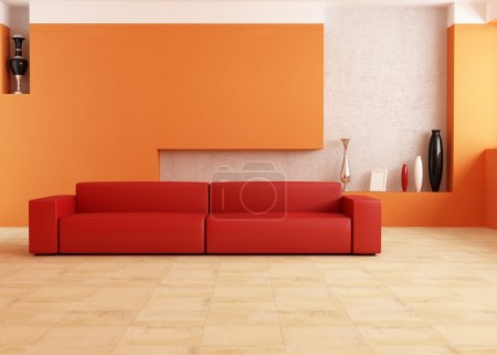 Red and orange living room