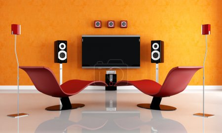 Photo for Modern home theater with two fashion armchair - rendering - Royalty Free Image