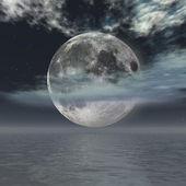 "Постер, картина, фотообои ""Полная Луна над океаном"""